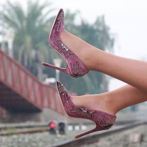 ZARA Woman Velvet Beaded Pointed Pumps Boho Heels